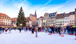 Ice Skating rink near the Cathedral in Strasbourg, France, Christmas Time