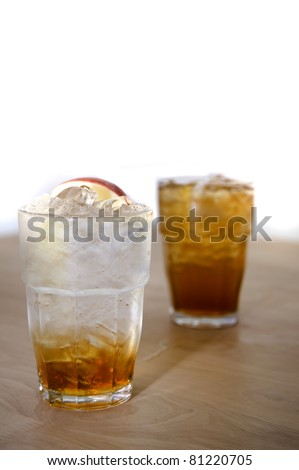 ice soda apple on wood backgrounds