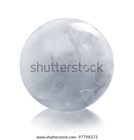 Ice sphere isolated on white background