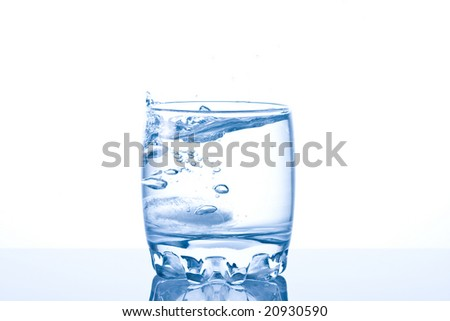 Ice  splashing in a cool glass of water