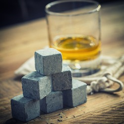Ice Stones and Scotch on a table