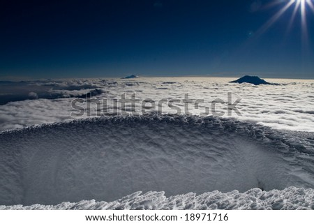 Ice structure on the summit of cotopaxi, ecuador - stock photo