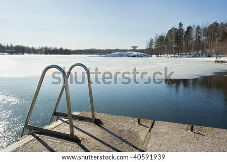 Ice swimming - stock photo