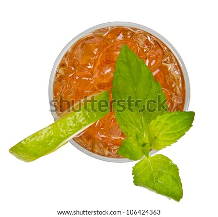 Ice tea drink from top view, isolated on white background