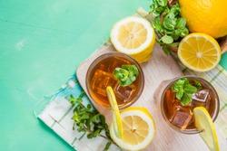 Ice tea in glasses