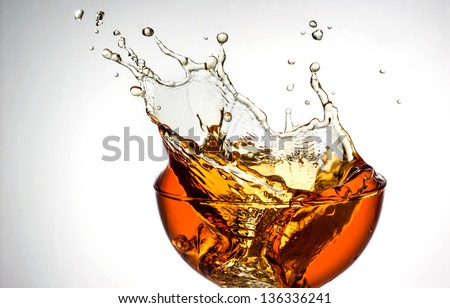 ice tea. splash in glass