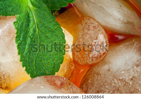 Ice tea with lemon.Closeup glass ice tea with ice cubes and mint.