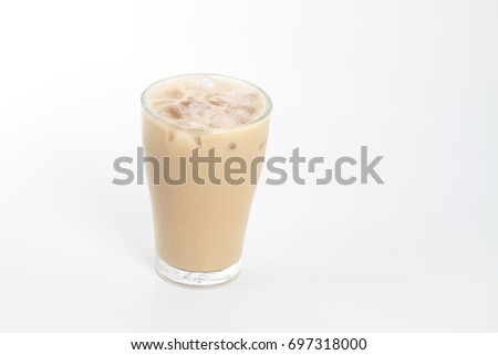 Ice tea with milk over white background #697318000