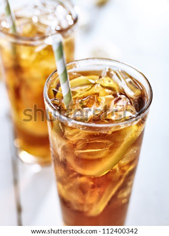 ice tea with straw closeup