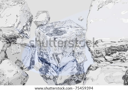 Ice the abstract pieces allocated in light gray space with reflections and refraction