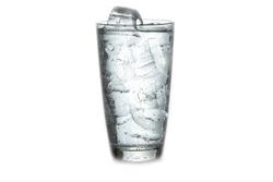 Ice with soda on white background