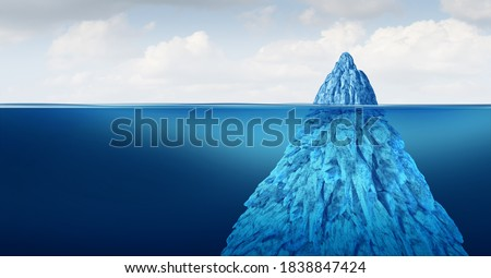 Iceberg floating in cold arctic ocean water with a small part of the frozen ice and other huge part of the freezing snow as a hidden danger  under the water as a cold winter obstacle 3D render. Foto stock ©