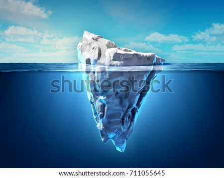 Iceberg floating in the ocean, both the tip and the submerged parts are visible. 3D illustration.