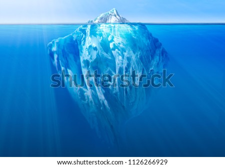 Iceberg floating in the ocean with visible underwater part. Global warming concept. 3D illustration