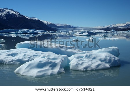 Iceberg floating on lake, Upsala Glacier, Argentino Lake, Patagonia, Argentina