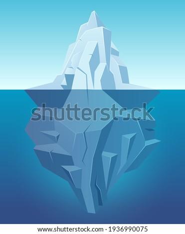 Iceberg in ocean. Big ice white rock in water polar landscape in cartoon style outdoor nature Foto stock ©