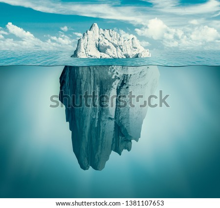 Iceberg in ocean. Hidden threat or danger concept. Central composition. Toned green 3d illustration.