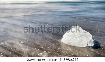 Iceberg on Diamond Beach, Jokulsarlon lagoon - Southern Iceland. #1482936719