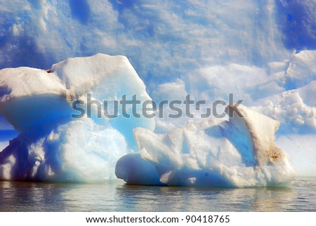 Iceberg on Lago Argentino is a lake in the Patagonian province of Santa Cruz, Argentina.The lake lies within the Los Glaciares National Park, in a landscape with numerous glaciers.