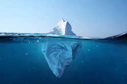 Iceberg - plastic bag with a view under the water. Pollution of the oceans. Plastic bag environment pollution with iceberg.