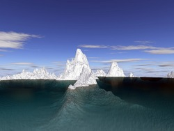 iceberg underwater and above