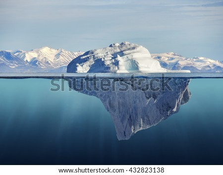 iceberg with above and underwater view taken in greenland #432823138