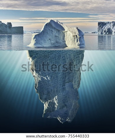 iceberg with above and underwater view taken in greenland #755440333