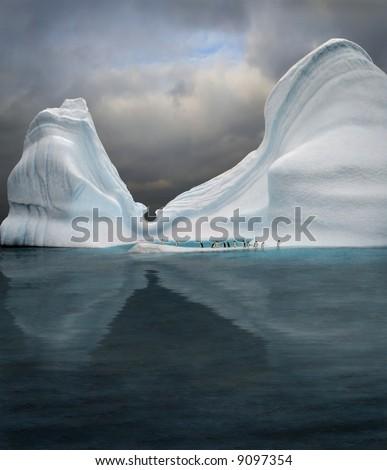 iceberg with penguins looks like swimming pool