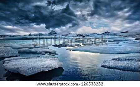 Icebergs against Stormy Sky in Iceland