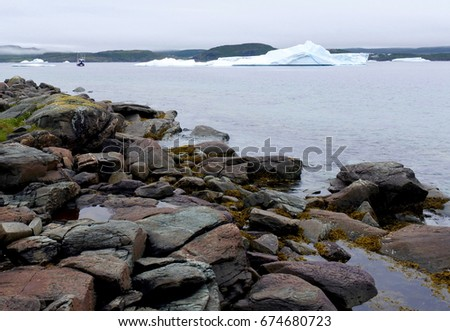 Icebergs and fishing boat in a calm foggy bay in St Anthony, Newfoundland, Canada #674680723