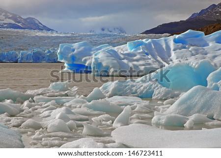 Icebergs at Terminus of Glacier, Patagonia, Chile