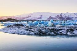 Icebergs at the Glacier Lagoon Jökulsárlón in Iceland, Europe