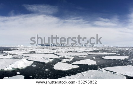 Icebergs floating in the Weddell Sea, Antarcitca