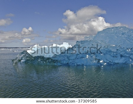 Icebergs from the San Rafael Glacier in Patagonia, Chile (Global warming)