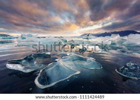 Icebergs in Jokulsarlon glacial lagoon. Vatnajokull National Park, southeast Iceland, Europe. #1111424489