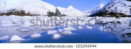 Icebergs in Portage Lake and Portage Glacier, Alaska
