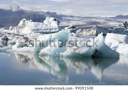 Icebergs in the glacial lake Jokulsarlon in Iceland