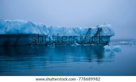 Icebergs in the Jökulsárlon glacier lagoon, South Iceland