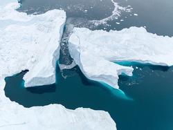Icebergs on Arctic Ocean in Greenland. Ilulissat disco bay.