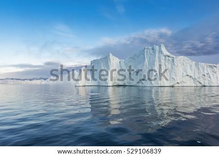 icebergs on the arctic ocean in Ilulissat, Greenland
