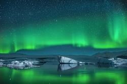 Icebergs under the Northern Lights