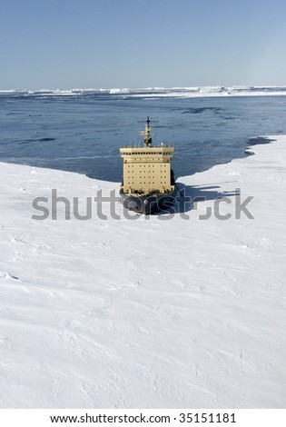 Icebreaker on Antarctica - stock photo