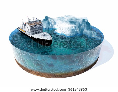 Stock Photo Icebreaker ship on the ice in the sea.