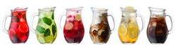Iced beverages and cocktails in glass pitchers, a set of