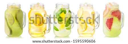 Iced beverages or lemonade in mason jars isolated