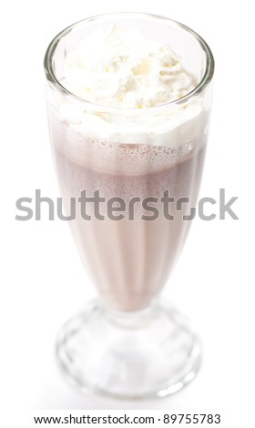 iced blended chocolate milk cocktail. On white