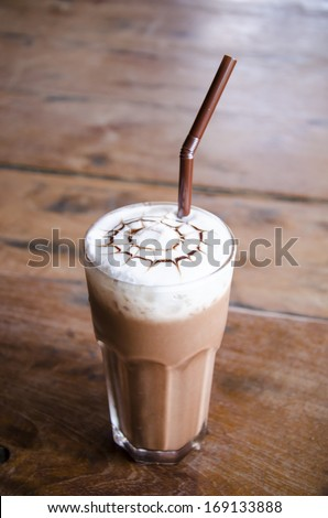 Iced chocolate  on wood background