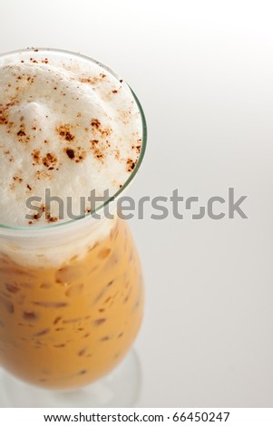 iced coffee cappuccino with whipped cream.