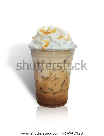 Iced coffee covered with whipped cream caramel in plastic glass to go isolated on white background. This has clipping path. #764949328