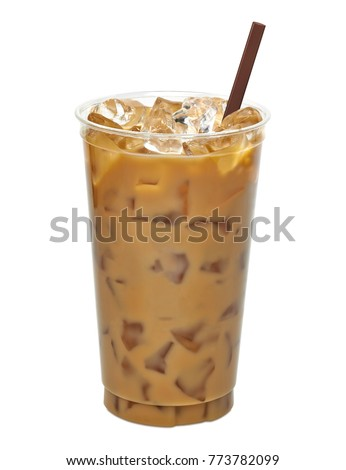 Iced coffee in disposable to go cup / coffee latte in take away or to go cup including clipping path